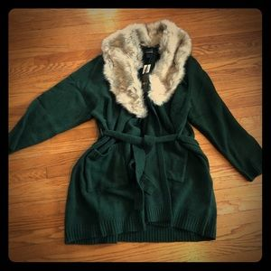 Torrid Outlander Green Faux Fur Collar Cardigan